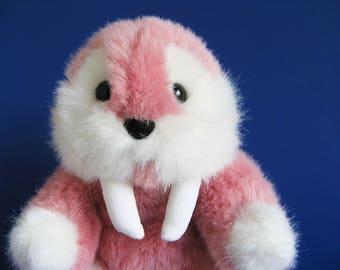 Vintage Walrus Stuffed Animal by Gund 1980s Toys Kids Toy Mauve Pink Plush Arctic Animal Long Tusks Mookie