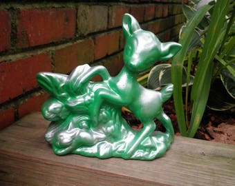 Vintage Bambi Ceramic Planter - Woodland Deer & Bunny Green + Silver Flower Pot - Retro Animal Kitsch Indoor Plant Holder New House Gift