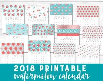Printable 2018 Calendar   watermelon pastel teal coral calendar   Printable wall calendar Instant download 8.5x11