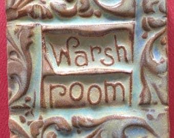 Warsh room handmade earthenware tile by tilesmile