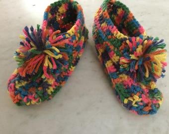 MultiColor Crochet Child Slippers Age 4/5