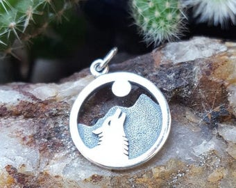 ON SALE TODAY Howling Wolf Charm - Sterling Silver Wolf Howling at the Moon Necklace