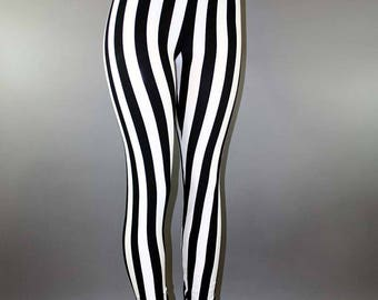 Striped Steampunk Goth Leggings Pants Trousers Black and White Stripes Tribal Festival Rave Burningman Metal Punk