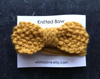 Knitted Bow - mustard yellow