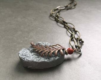 Druzy Necklace with Brass Feather on Brass Chain