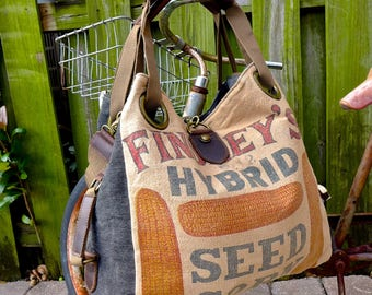 Findley's Hybrid Seed Corn - Open Tote - Americana Upcycle Vintage OOAK Canvas & Leather Tote... Selina Vaughan Studios