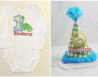 Dinosaur 1st Birthday Shirt Bodysuit and Party Hat Set- Personalized Baby Boy