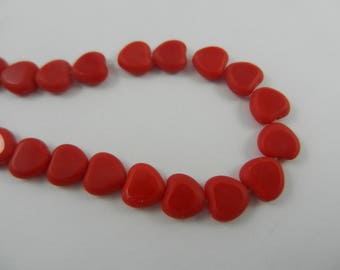 8x8mm Czech fire polished cut heart beads opalescent red with matte edges 25 pieces0903