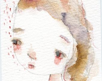 Gentle words - 2.5x4 original watercolor