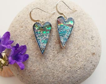 Earrings Iridescent Silver and Flame Hearts