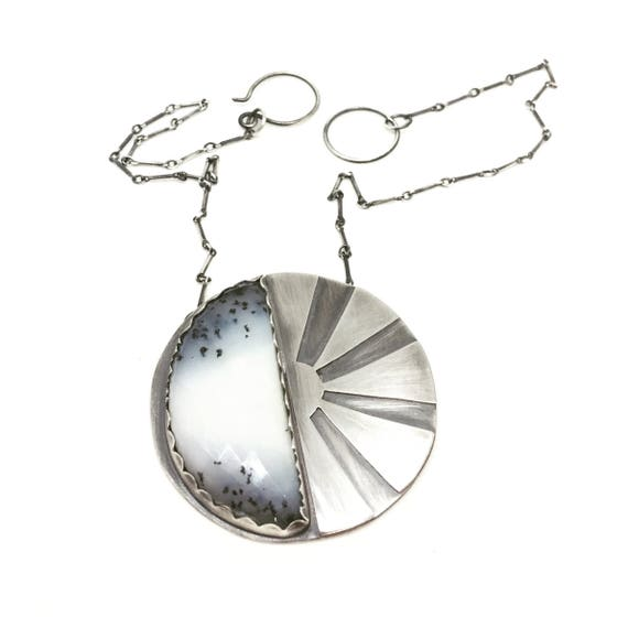 Sun and Moon necklace dendritic opal necklace opal necklace statement necklace big necklace sterling silver necklace