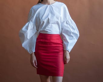 red linen mini skirt / high waist woven skirt / fitted mini skirt / US 2 / s / 2642t / B5