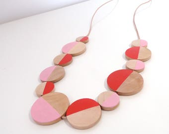 Flow natural wood statement necklace - hand painted scarlet pink limited edition circle modern