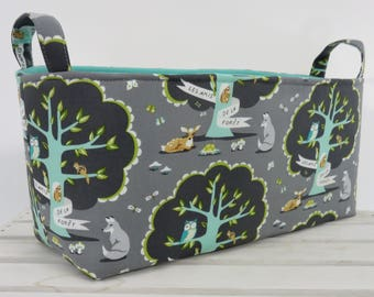Long Diaper Caddy Storage Container Basket Fabric Organizer Bin - Nursery Decor - Les Amis - Michael Miller Fabric - Woodland Animals
