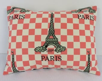 Patchwork Pillow Cover - Baby Toddler Nursery Decor Baby Crib Bedding - Travel - 12 in x 16 in - Eiffel Tower - Paris - Coral Pink Checks
