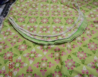 MadieBs Pink Floral on Lime Green  Burp Pad and Changing Pad Set