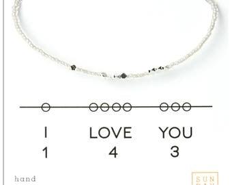 I Love You 143 - Valentines Day, Friendship Bracelet - Silver