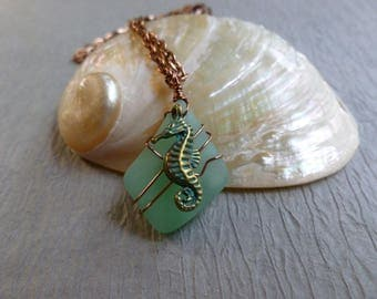 Handmade seaglass green pendant with seahorse antique copper  chain