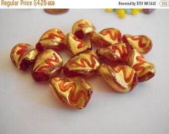 SALE 15% off Vintage Venetian beads (2) red gold foil glass focal twist handmade lamp work lampwork (2)