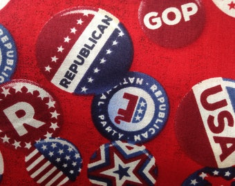 GOP Republican Fabric Political Fabric Red State Elephant starts and stripes vintage buttons americana celebrating freedom election craft