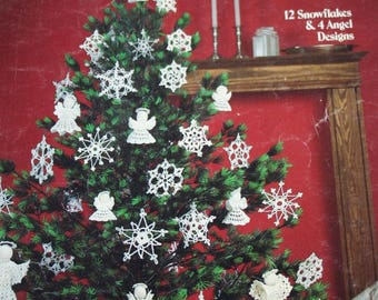 Crochet Patterns Christmas Ornaments Crocheted Snowflakes & Angels Leisure Arts 255 Paper Original NOT a PDF
