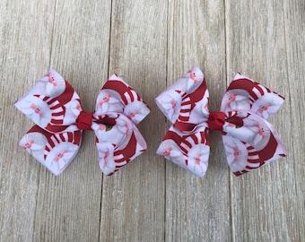 Santa Hair Bows,Christmas Hair Bows,Pigtail Hair Bows,4-4.5 Inch Wide Hair Bows,French Barrette Hair Bows