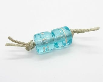 Aqua Fine Silver Handmade Lampwork Glass Beads - Prima Donna Beads