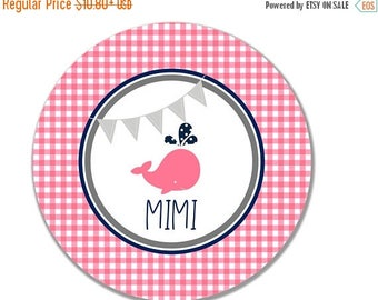 ON SALE Gingham Whale Girl's Melamine Tableware Set - Pink and Navy - Personalized Kid's Tableware - Personalized Kids Plate Set - Children'