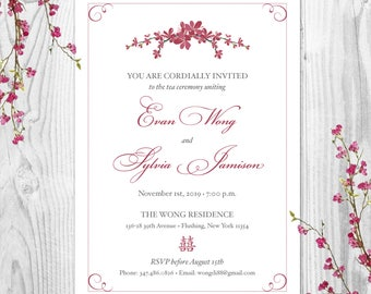 Blossom Branches Tea Ceremony Invitations