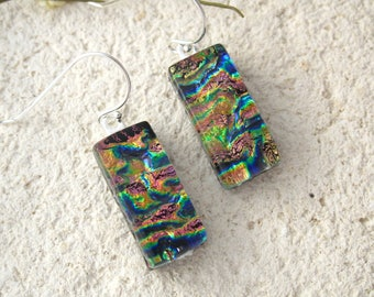 OOAK Petite Gold Blue Copper Dichroic Earrings, Dangle Drop Earrings, Fused Glass Jewelry, Sterling, Ccvalenzo, Dichroic Glass, 111817e100