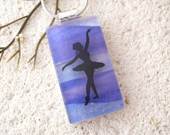 Lavender Ballerina Necklace, Dichroic Necklace, Fused Glass Jewelry, Dichroic Pendant, Lavender Necklace, OOAK Handmade Jewelry,121417p100b