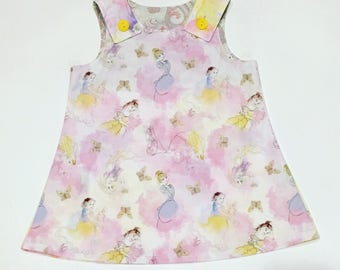 New princess watercolor toddler dress - size 2t -belle - disney - pinafore - girls dress - rapunzel - Cinderella - Snow White