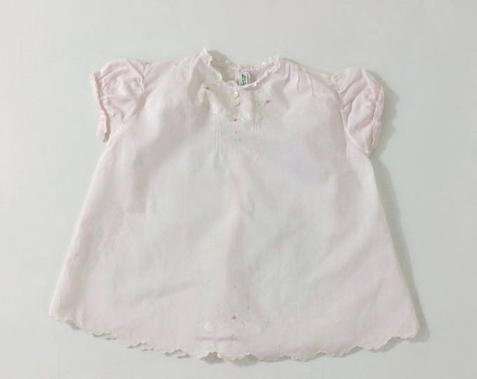 Newborn Dress, Baby Dress, Vintage Pink Batiste Heirloom Dress with Pintucks & Embroidery, Handmade in the Philippines, Size 3 - 6 Months