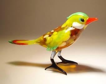 Handmade Blown Glass Art Figurine Yellow FINCH Bird
