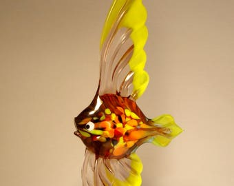 Handmade Blown Glass Art Figurine Purple and Yellow ANGELFISH Fish - Standing or Ornament