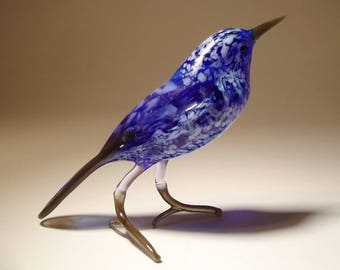 Handmade  Blown Glass Figurine Art Blue and White Bird Figurine