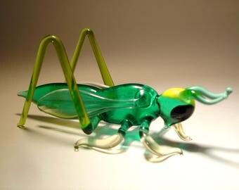 Handmade Blown Glass Art Figurine Green Insect Cricket Grasshopper