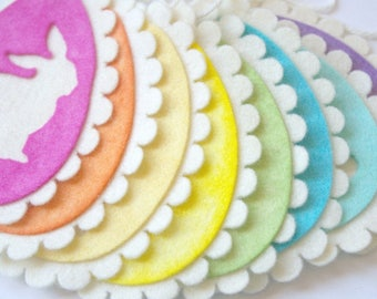 Easter Bunny Garland: Spring Decoration, Easter Egg Banner (All Natural Wool, Hand Dyed) Waldorf Inspired Easter Decor