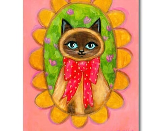 Siamese Cat Portrait painting ORIGINAL acrylic painting of a seal point siamese cat sweet folk art wall decor by Tascha