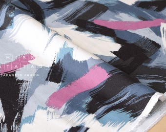 Japanese Fabric brushed rayon twill brushstrokes - grey, pink, blue, black - 50cm