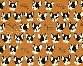 Japanese Fabric Kokka Boston Terriers - brown - 50cm