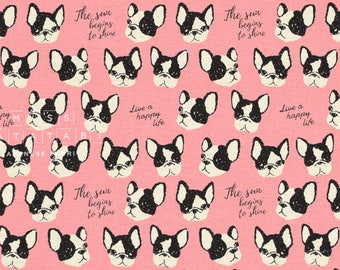 Japanese Fabric Kokka Boston Terriers - pink - 50cm
