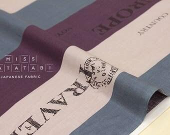 Japanese Fabric Yuwa Suzuko Koseki Voyage - eggplant, teal grey, mauve - 50cm