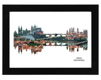 Prague Czech Republic Skyline Print with aerial city photo