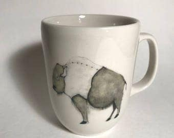 buffalo with sweater ceramic coffee mug farmhouse kitchen rustic decor