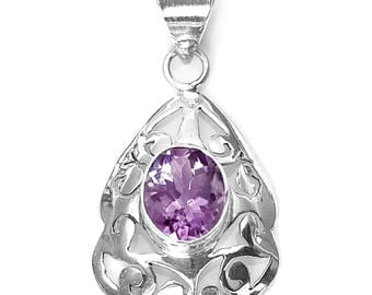 Fancy Amethyst and Sterling Silver Pendant
