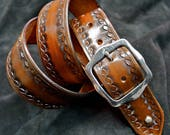 """Brown leather belt Tooled Stacked Western border Distressed buckle 1-3/4"""" wide handmade for PATRICK in NYC by Freddie Matara"""