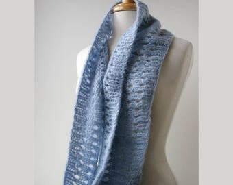 SAMPLE SALE Mohair Blend Infinity Scarf in Light Blue, Circle Scarf, Soft, Warm, Winter, Gift for Her, Women, Gift, Cozy, Wrap