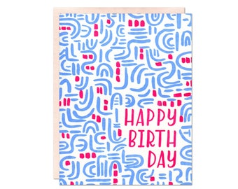 Birthday Pattern Letterpress Card