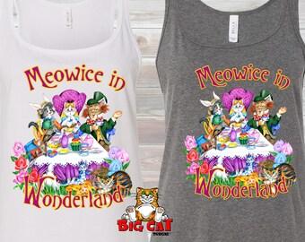 ALICE in WONDERLAND CATS. Wonderland Cat Tank.  Meowice in Wonderland.  Funny Cat Tank top, Cat Lover Tank Top.  Wonderland Shirt
